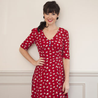 Buy the 1940s tea dress sewing pattern from Sew Over It on The Fold Line