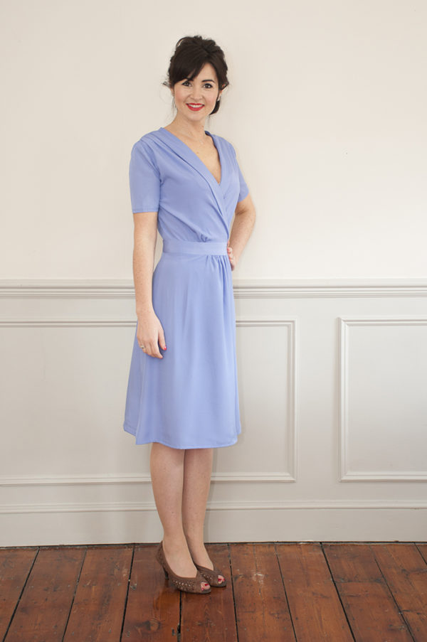 Buy the 1940s wrap dress sewing pattern from Sew Over It on the Fold Line