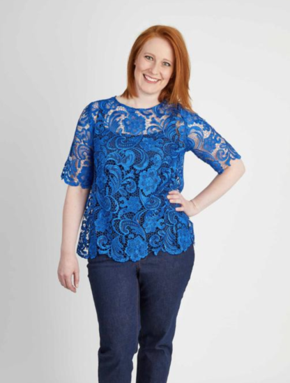 Woman wearing the Montrose Top sewing pattern by Cashmerette. A top pattern made in silk, lawn, voile or lace fabric featuring a jewel neck, elbow length sleeves and keyhole back closure.