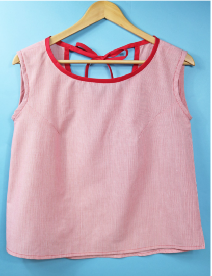 Image showing the Hello Sailor Top sewing pattern by The Fold Line. A camisole top pattern made in light weight cotton, cotton lawn, shirting or rayon fabrics, featuring armhole darts and fitted around the bust, back bias ribbon tie, and side seam slits.