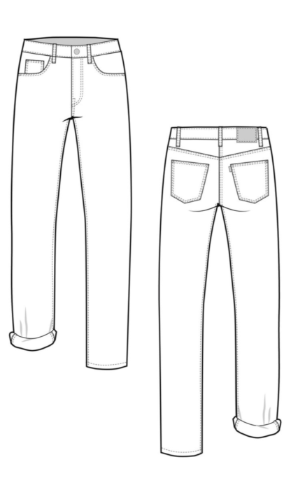 Line Drawing Morgan jeans sewing pattern from Closet Case Patterns from The Fold Line