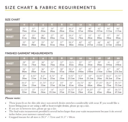Size chart Morgan jeans sewing pattern from Closet Case Patterns from The Fold Line