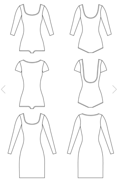 Nettie bodysuit line drawings sewing pattern from Closet Case Patterns on The Fold Line