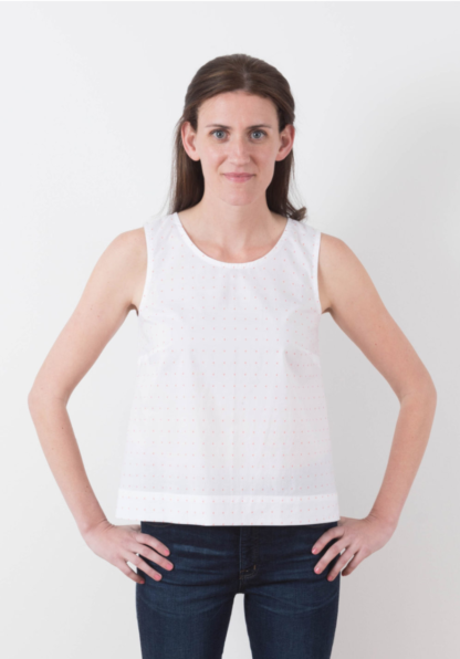 Women wearing the Willow Tank sewing pattern by Grainline Studio. A sleeveless tank pattern made in cotton, linen, silk or crepe with a round neck and relaxed fit below the bust.