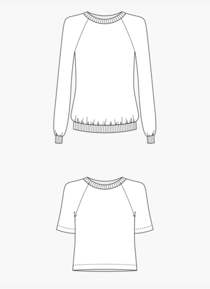 Buy the Linden Sweatshirt line drawing sewing pattern from Grainline Studio from The Fold Line