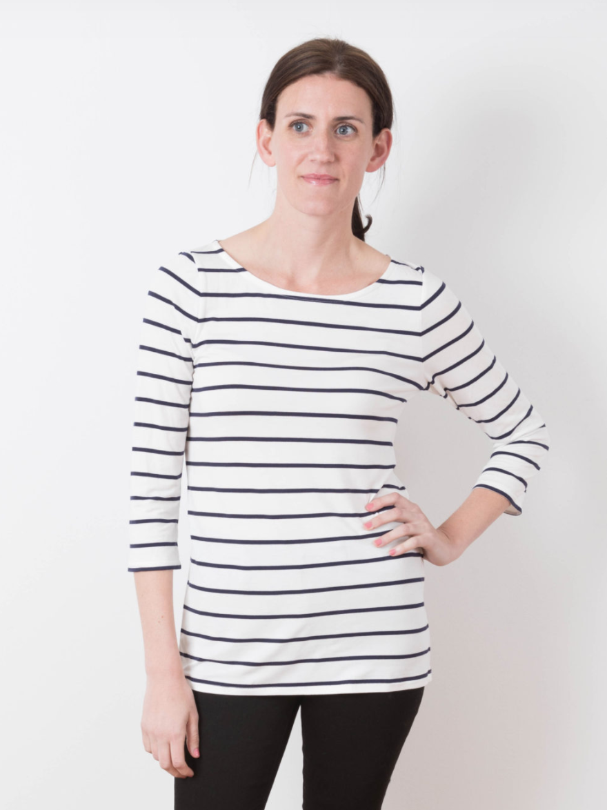 Women wearing the Lark Tee sewing pattern by Grainline Studio. A T-shirt pattern made in jersey or knit fabric featuring a round neck and three quarter sleeves.