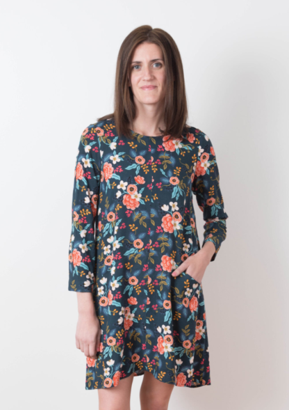 Women wearing the Farrow Dress sewing pattern by Grainline Studio. An A-line Dress pattern made in cotton, linen, wool and silk fabric featuring bracelet sleeves and jewel neckline.