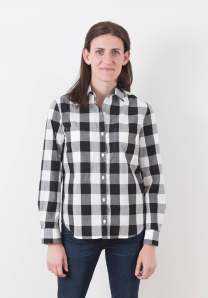 Women wearing the Archer Button Up Shirt sewing pattern by Grainline Studio. A front button shirt pattern made in crepe, cotton, denim or linen fabric featuring collar, cuffs and long sleeves.