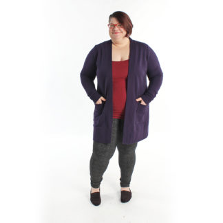 Women wearing the Blackwood Cardigan sewing pattern by Helens Closet. A fitted cardigan pattern made in jersey or knit fabric featuring extra long sleeves and roomy pockets.