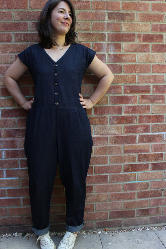 Women wearing the Jumpsuit from the Roberts Collection sewing pattern from Marilla Walker on The Fold Line. A jumpsuit pattern made in denim, cotton twill, linen, viscose or medium weight cotton fabrics, featuring a roomy fit, dropped waist/crotch, cap sleeves, small front hip pleats, topstitched neck facings, front button fastening and front pockets.