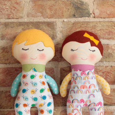 Doll shaped toy sewing pattern by Crafty Kooka. A soft toy pattern made in cotton fabrics, with wool felt for the hair and collar. Sew your very own little rag dolly with this unique and imaginative pattern.