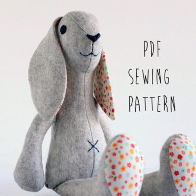 Rabbit shaped toy sewing pattern by Crafty Kooka. A soft toy pattern made in wool felt, cotton, linen, plush or minky fabrics. Sew your very own baby bunny with this unique and imaginative pattern.