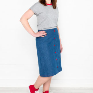 Woman wearing the All the Cute Skirts sewing pattern from My Handmade Wardrobe on The Fold Line. A skirt pattern made in denim, corduroy, quilting weight cotton, linen, velvet, brocade, or wool fabrics, featuring an A-line silhouette, back invisible zip closure and knee length finish.
