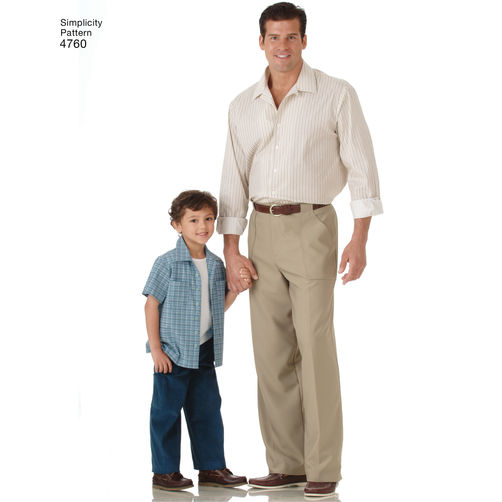 Simplicity SEWING PATTERN 4760 Boys /& Mens Trousers /& Shirt