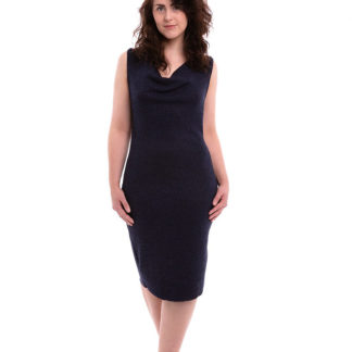 Women wearing The Anya Basic sewing pattern from Pipe Dream Patterns on The Fold Line. A sleeveless dress pattern made in jersey, knits, stretch velvets or elastane/Lycra/rayon blend fabrics, featuring a figure hugging silhouette, low scooped back with a low-cut slouchy cowl front neckline and knee length finish.