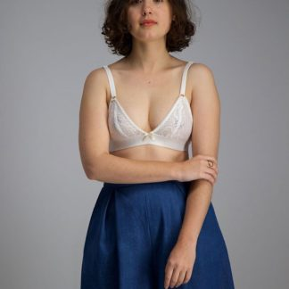Women wearing the Cosmos Bralette sewing pattern by Afternoon Patterns. A soft bralette pattern made in stretch lace fabrics, featuring gently shaped cups, adjustable straps and soft underbust elastic.