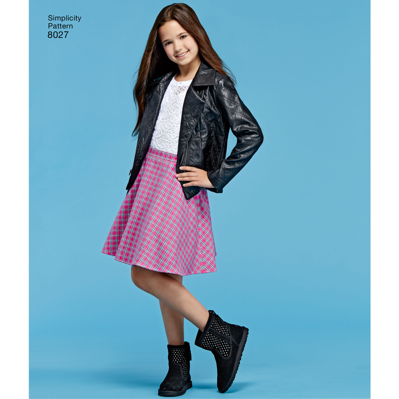 Simplicity SEWING PATTERN 8027 Childs//Girls Jacket,Vest,Skirt,Top /& Leggings