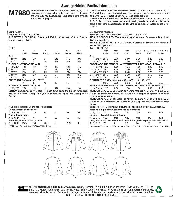 McCall/'s 7980 Unisex Shirts   Sewing Pattern