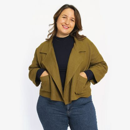 Woman wearing the Pona Jacket sewing pattern by Helens Closet. A blazer pattern made in linen, cotton, corduroy or wool fabric featuring an oversized blazer feel, complete with pockets and a statement lapel.