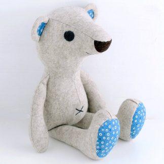 Teddy shaped toy, the Buddy Bear Soft Toy sewing pattern by Crafty Kooka. A soft toy pattern made in felt, cotton, linen, fleece, denim or corduroy fabrics.