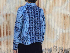 Elastic Tie Sweater in border print fabric