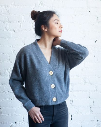 Women wearing the Marlo Sweater sewing pattern by True Bias. A cardigan pattern made in stretch or non-stretch fabrics, featuring an oversized fit, dropped shoulder, long sleeves, deep V-neck and large button front closure.