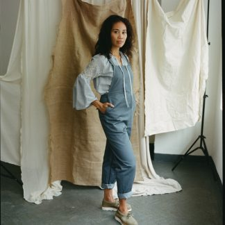 Women wearing the Greta Dungarees sewing pattern from Made My Wardrobe on The Fold Line. A dungaree pattern made in denim, corduroy, chambray, heavy linen or cotton twill fabrics, featuring deep pockets, adjustable waist tie and non-adjustable shoulder straps.