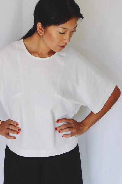 Women wearing the Block Tee sewing pattern from Paper Theory Patterns on The Fold Line. A T-shirt pattern made in linen, cotton, crepe de chine or silk fabrics, featuring a boxy silhouette, oversized fit, elbow length sleeves and round neck.