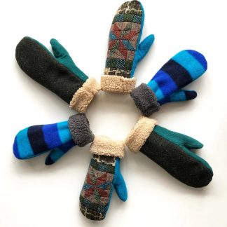 The Condon (Bernie) Mittens sewing pattern by Ensemble. A mittens pattern made in medium weight woven or knit fabric, featuring a flexible thumb, wide cuff and warm fleece lining.