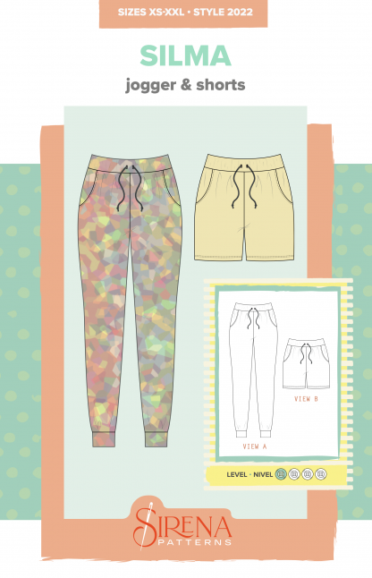 Sketch showing the Silma Jogger and Shorts sewing pattern by Sirens Patterns. A jogger and shorts pattern made in two-way stretch fabric with 25% stretch or more, featuring a loose fit, drawstring, elastic waist and pockets.