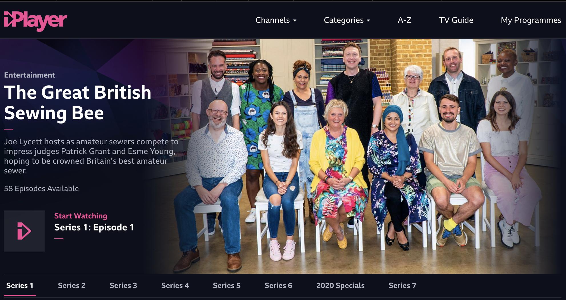 BBC Iplayer - the Great British Sewing Bee